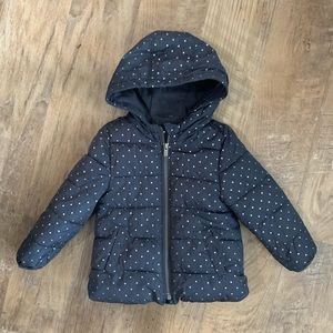 Old Navy Girls Polka Dot Puffer Coat Size 3T